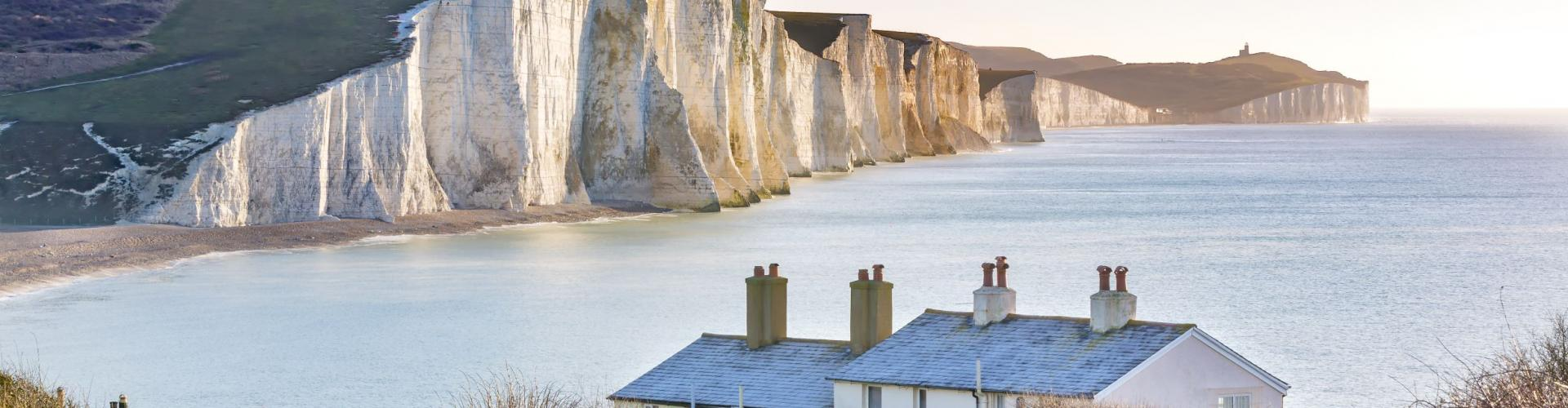 The Coast Guard Cottages Seven Sisters Chalk Cliffs just outside Eastbourne Sussex England UK. small