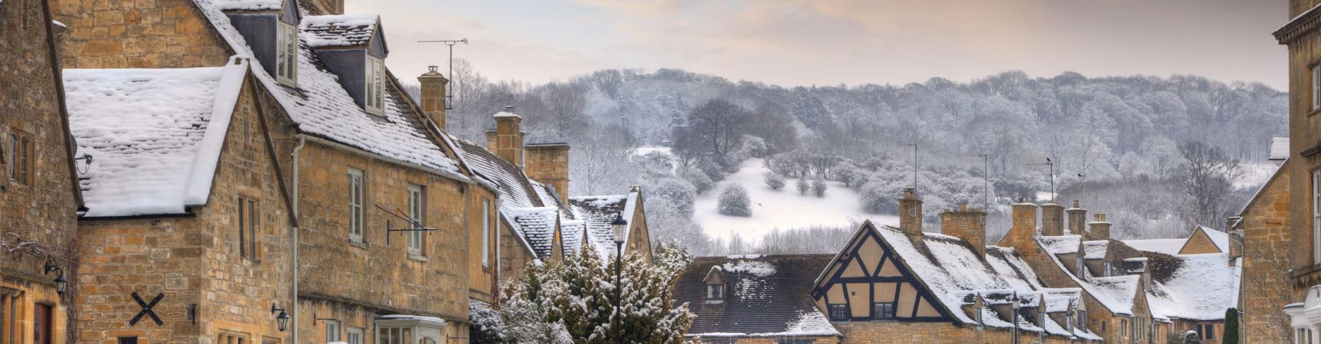 Cotswold village of Broadway in snow Worcestershire England small