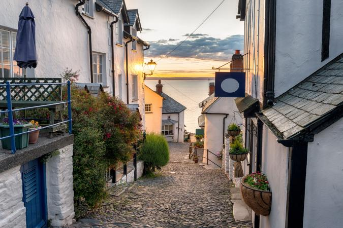 Devon Weekender  image - Narrow cobbled streets lined with cottages on a steep hill at Clovelly on the Devon coast small