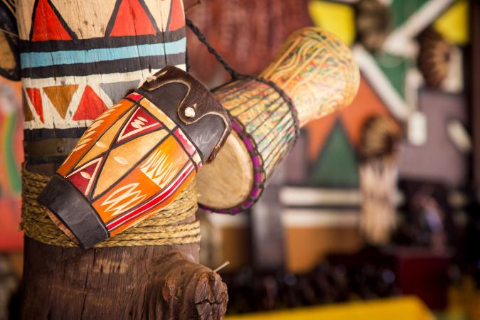 Holiday image - Traditional handmade drums for sale at Lesedi Cultural Village South Africa small