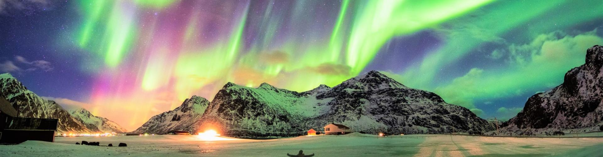Aurora borealis Northern lights over mountain small 3