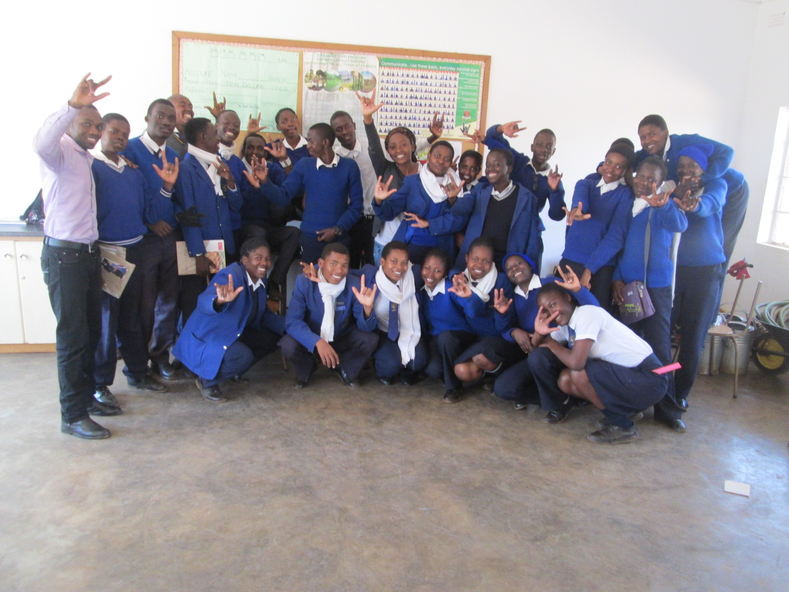 Thabiso with some of the blind children